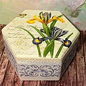 Для дома и интерьера handmade. Livemaster - original item Box Irises decoupage. Handmade.