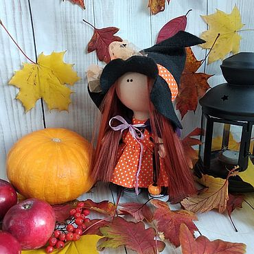 Dolls & toys handmade. Livemaster - original item Doll witch (witch) for Halloween in orange. Handmade.