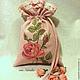 """Подарочная упаковка ручной работы. Ярмарка Мастеров - ручная работа. Купить Винтажный льняной мешочек """"Бутоны роз"""". Handmade. мешочек"""