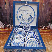 Сувениры и подарки handmade. Livemaster - original item SETS: New year set Gzhel. Handmade.