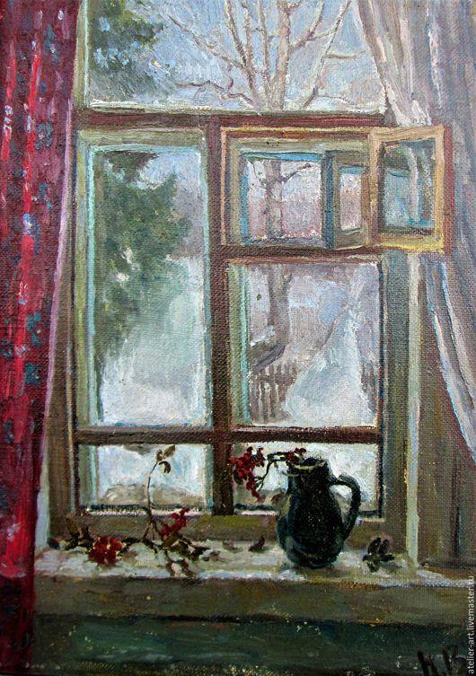 `Зимнее окно` - живописный этюд с натуры; холст, масло.