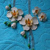 """Свадебный салон ручной работы. Ярмарка Мастеров - ручная работа Колье и серьги """"Белая орхидея"""" из полимерной глины. Handmade."""