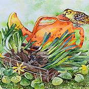 """Картины ручной работы. Ярмарка Мастеров - ручная работа Картина акварелью """"Весенний денек"""" птица, сад, растения, цветы. Handmade."""
