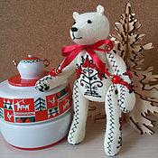 """Куклы и игрушки ручной работы. Ярмарка Мастеров - ручная работа Миниатюрный мишка """"Узоры Севера"""". Handmade."""