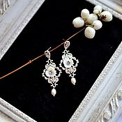 Украшения handmade. Livemaster - original item Earrings with pearls for bride.. Handmade.
