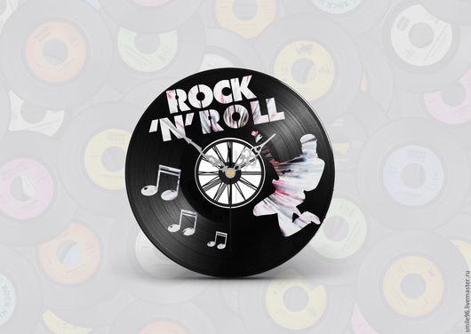 """Часы для дома ручной работы. Ярмарка Мастеров - ручная работа. Купить Часы из виниловой пластинки """"Rock'n'Roll"""". Handmade."""