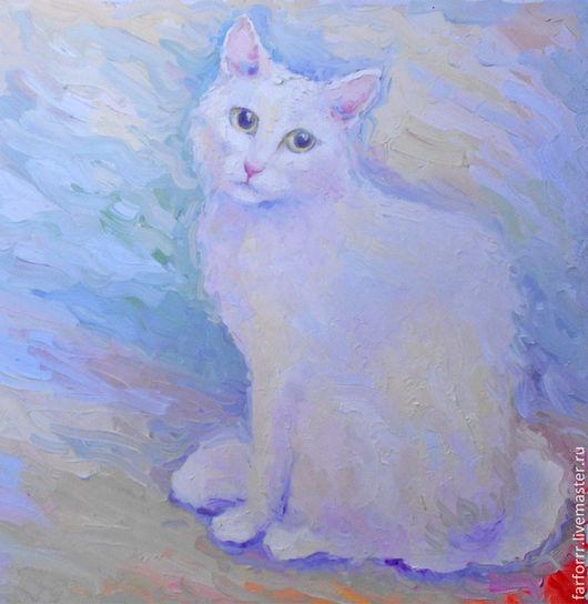 Животные ручной работы. Ярмарка Мастеров - ручная работа. Купить Картина. Белая кошечка.. Handmade. Мятный, белая кошечка