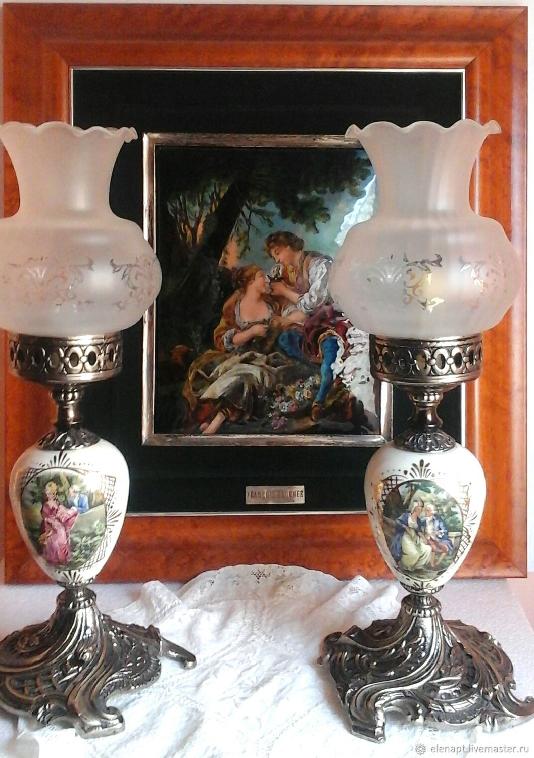 Vintage Amazing vintage lamps with gallant scenes, Vintage interior, ,  Фото №1