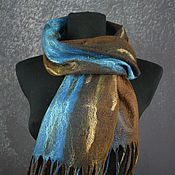 Аксессуары handmade. Livemaster - original item Scarf felted woolen felted scarf brown turquoise. Handmade.