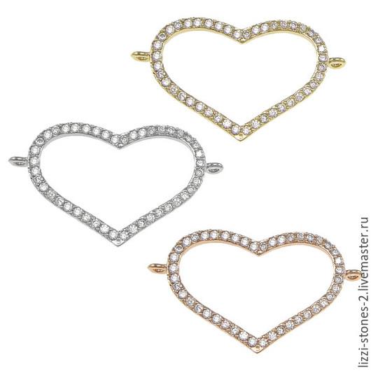 Коннектор сердце золото и серебро (Milano) Евгения (Lizzi-stones-2)