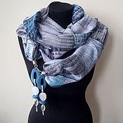 Аксессуары handmade. Livemaster - original item Scarf with pendants 761, cotton, polyester. Handmade.
