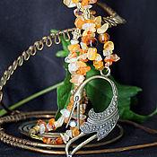 Работы для детей, handmade. Livemaster - original item Carnelian beads with heron. Handmade.