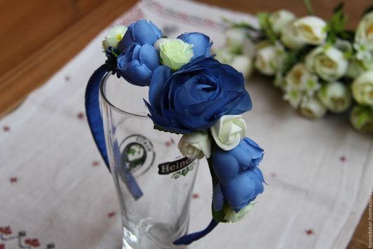 Диадемы, обручи ручной работы. Ярмарка Мастеров - ручная работа. Купить Ободок для волос с цветами (Синька). Handmade. Синий, Праздник