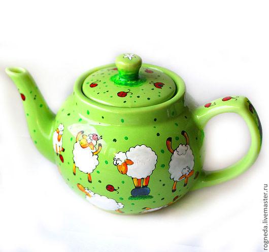 Чайники, кофейники ручной работы. Ярмарка Мастеров - ручная работа. Купить Большой зеленый чайник Овечья жизнь (0860). Handmade.