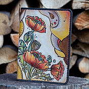 Канцелярские товары ручной работы. Ярмарка Мастеров - ручная работа Обложка для паспорта кожаная Маки. Handmade.