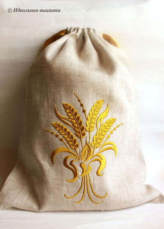 """Кухня ручной работы. Ярмарка Мастеров - ручная работа. Купить Льняной мешок д/хлеба """"Урожайный"""". Handmade. Мешочек для хлеба, серый"""