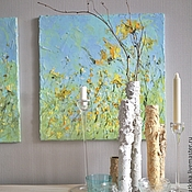 Картины и панно ручной работы. Ярмарка Мастеров - ручная работа Салатовая картина маслом желтая фиолетовая бирюзовая с цветами в кухню. Handmade.