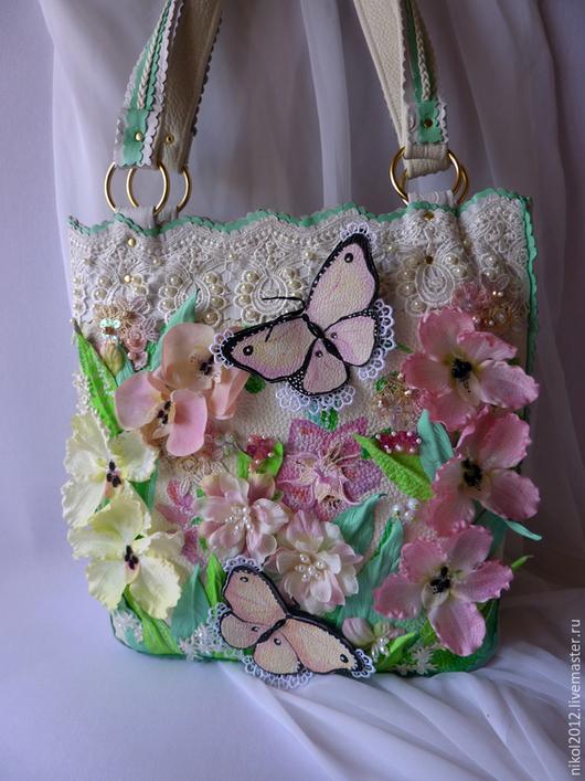 """Женские сумки ручной работы. Ярмарка Мастеров - ручная работа. Купить Сумка """"Нежность с розовым"""". Handmade. Разноцветный, сумка летняя"""