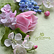 Картины цветов ручной работы. Ярмарка Мастеров - ручная работа. Купить Панно, рамка с цветами из холодного фарфора.. Handmade. Розовый