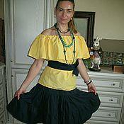 Одежда ручной работы. Ярмарка Мастеров - ручная работа Летний топ  из  хлопка желтый. Handmade.
