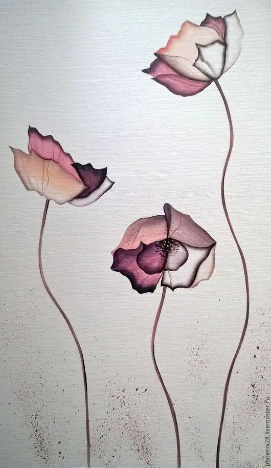 """Картины цветов ручной работы. Ярмарка Мастеров - ручная работа. Купить Картина """"Три цветка. Смысл жизни"""", акрил. Handmade."""