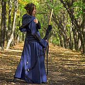 Субкультуры ручной работы. Ярмарка Мастеров - ручная работа Druidess Эльфийское платье льняное в пол синее из льна с капюшоном. Handmade.
