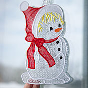 Подарки к праздникам handmade. Livemaster - original item The decoration on the window, Snowman girl. Handmade.