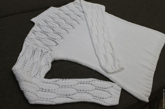Кофты и свитера ручной работы. Ярмарка Мастеров - ручная работа. Купить Хлопковый белый пуловер с ажурными рукавами. Handmade. Белый