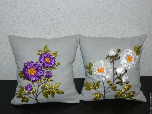 """Текстиль, ковры ручной работы. Ярмарка Мастеров - ручная работа. Купить Подушка диванная """"Пионы"""" - в двух цветах. Handmade."""