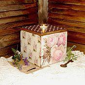 """Для дома и интерьера ручной работы. Ярмарка Мастеров - ручная работа Короб-подсвечник """"Roses». Handmade."""