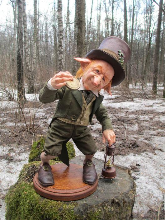Коллекционные куклы ручной работы. Ярмарка Мастеров - ручная работа. Купить Лепрекон Маркус. Handmade. Тёмно-зелёный, проволочный каркас