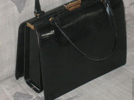 Винтажные сумки и кошельки. Ярмарка Мастеров - ручная работа. Купить винтажная сумка и кошелёчек из кожи ящерицы. Handmade. Черный, кожа