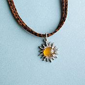 "Украшения handmade. Livemaster - original item pendent on a velvet cord ""My sun, look at me..."". Handmade."
