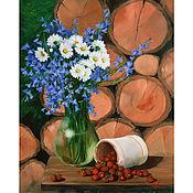 Картины и панно handmade. Livemaster - original item Painting bells and daisies