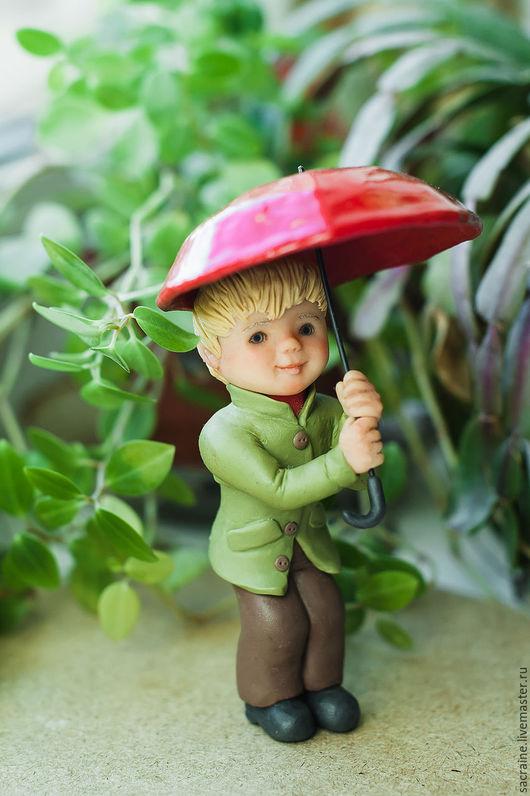 Миниатюра ручной работы. Ярмарка Мастеров - ручная работа. Купить Бенни с зонтиком. Handmade. Кукольная миниатюра, салатовый