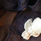 Материалы для творчества ручной работы. Ярмарка Мастеров - ручная работа Лен хамелеон синий коричневый. Handmade.