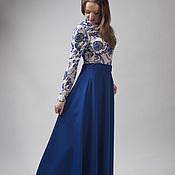 Одежда ручной работы. Ярмарка Мастеров - ручная работа Юбка макси, ярко синий цвет, габардин. Handmade.