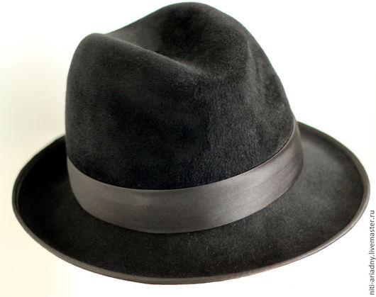 Шляпы ручной работы. Ярмарка Мастеров - ручная работа. Купить Мужская шляпа-федора. Handmade. Черный, мужской аксессуар