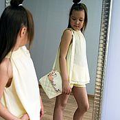 Работы для детей, ручной работы. Ярмарка Мастеров - ручная работа Летний хлопково-шифоновый костюм для девочки. Handmade.
