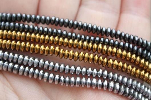 Для украшений ручной работы. Ярмарка Мастеров - ручная работа. Купить Гематит 4 мм, цвет  серебро, золото, черный. Handmade.