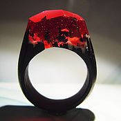 Кольца ручной работы. Ярмарка Мастеров - ручная работа Деревянное кольцо Лёд и пламя. Handmade.