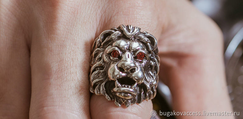 Ring Lion from silver 925 with red zircons, Ring, Moscow,  Фото №1