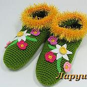 """Обувь ручной работы. Ярмарка Мастеров - ручная работа Тапочки вязаные """"Весенние цветы"""".. Handmade."""