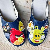 """Обувь ручной работы. Ярмарка Мастеров - ручная работа Тапочки мужские """"Angry Birds"""" домашние кожаные. Handmade."""