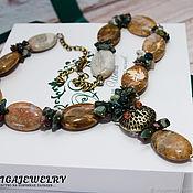 Украшения handmade. Livemaster - original item Necklace infinity Jasper Indian agate owl is