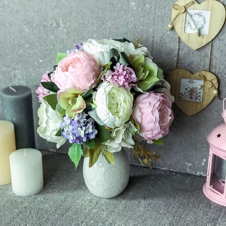 Композиция на ресепшн,стол, розовые цветы,интерьерный букет с пионами, Букеты, Москва,  Фото №1