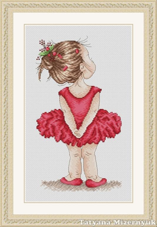 Маленькая вышивка балерина