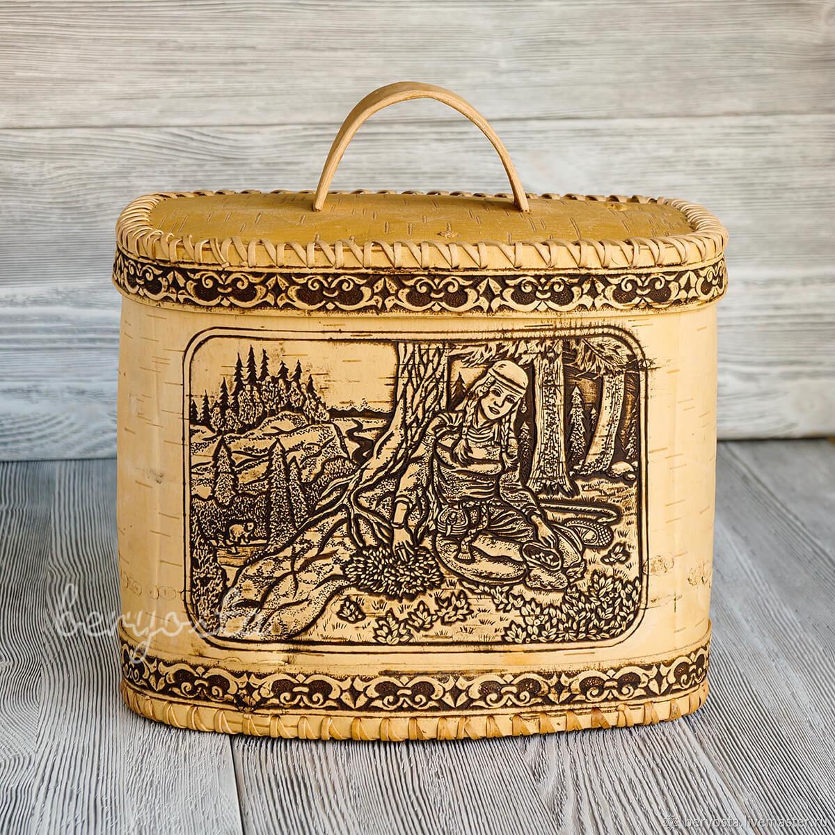 Birch bark box for bread ' Travnitsa'. Wooden cat, The bins, Novosibirsk,  Фото №1