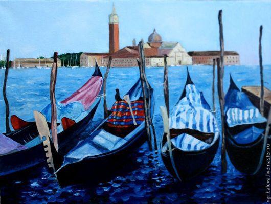 Пейзаж ручной работы. Ярмарка Мастеров - ручная работа. Купить Картина в наличии  Образы Италии Венеция.Гондолы 30 на 40 см. Handmade.