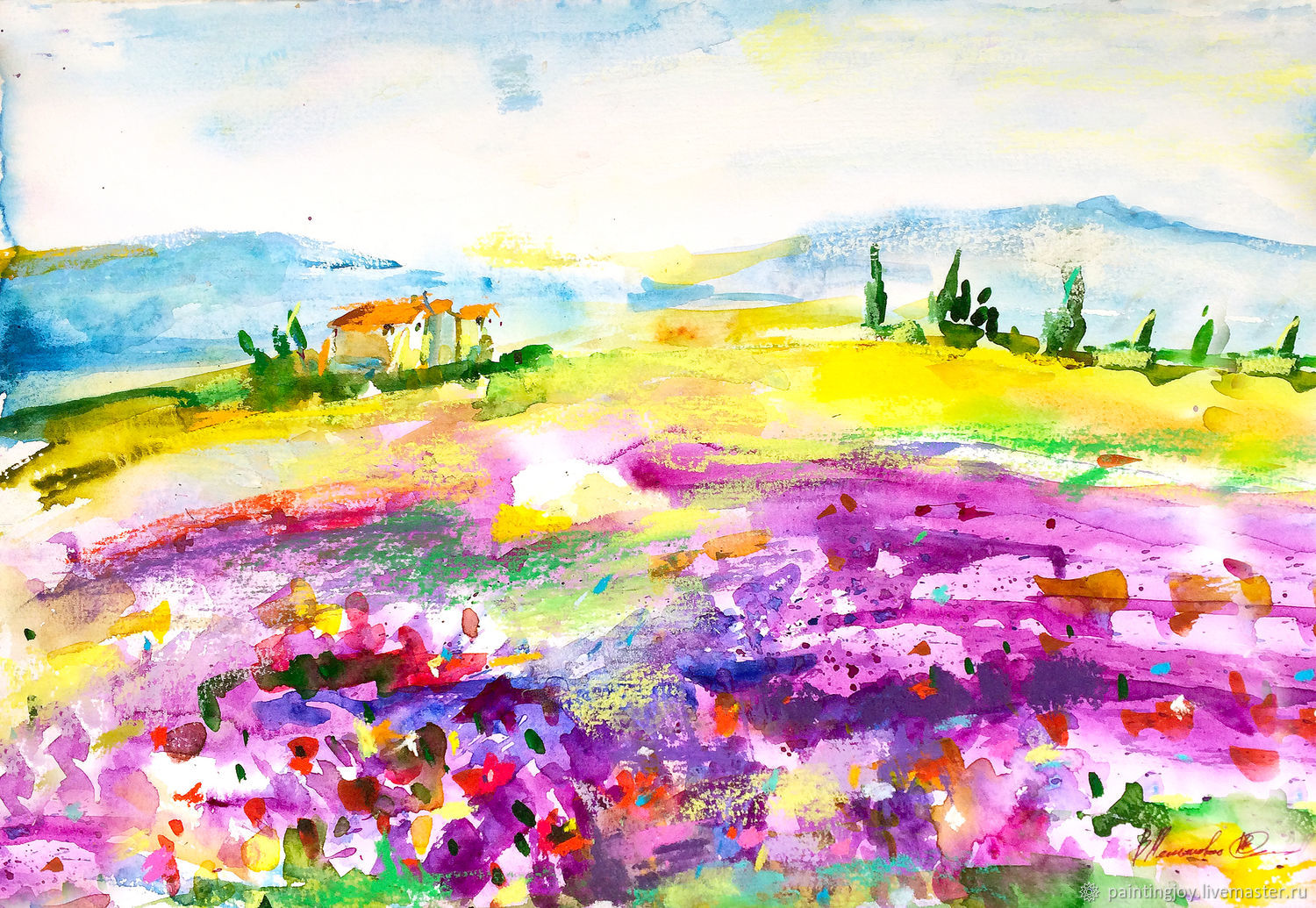 Watercolor pastel 'Lavender sketch' A3, Pictures, Stavropol, Фото №1